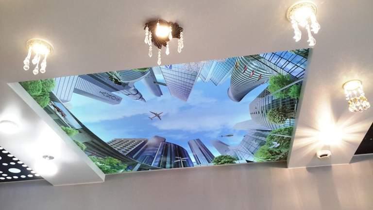 рисунки на натяжных потолках фото