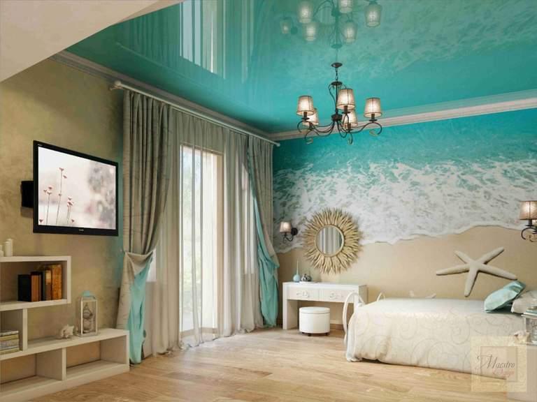 Дизайн комнаты с бирюзовым потолком 326