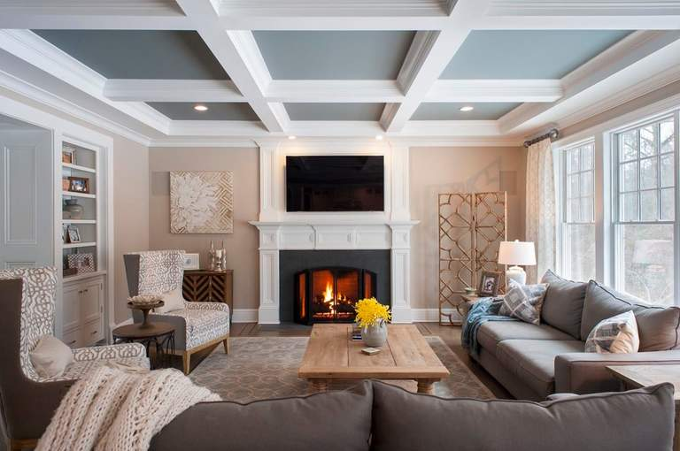 Кессонные потолки из дерева в интерьере: 55 идей с фото и советы по установке своими руками