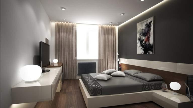 Натяжной потолок в спальне: красивые варианты дизайна с фото примерами
