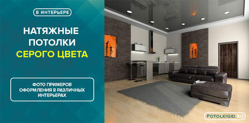 Фото серых натяжных потолков в интерьере гостиной, кухни, спальни, ванной и других комнат